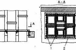 Крепеж вертикальных воздуховодов 1 – места, где производилась сварка 2 – рама 3 – уголки