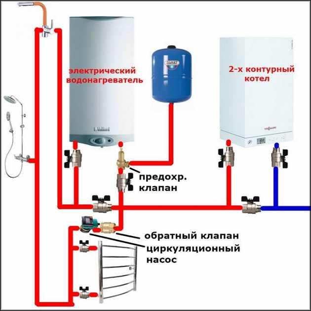 монтажная схема отопительного электрического котла (внутренний контур)