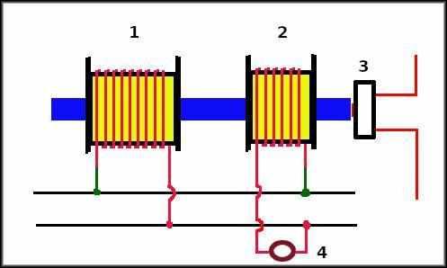 Схема реле с электромагнитным замедлителем