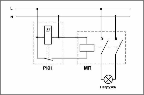 Схема с магнитным пускателем