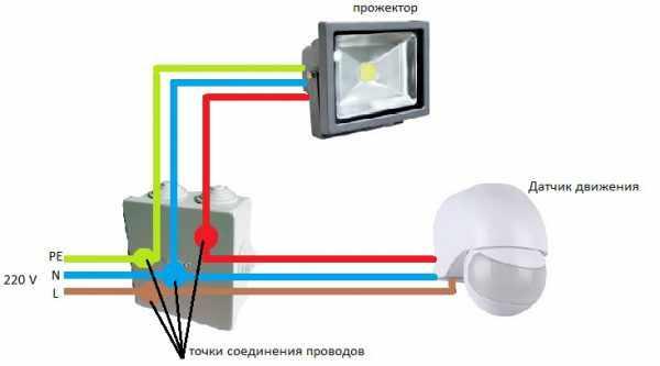 Подключение светодиодного прожетора с датчиком движения