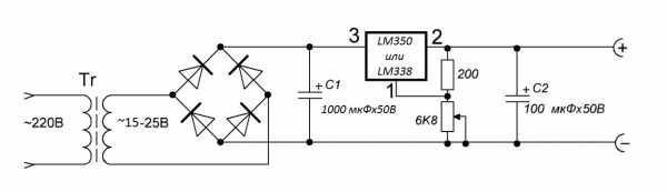 Схема блока питания светодиодного прожектора на микросхеме LM350