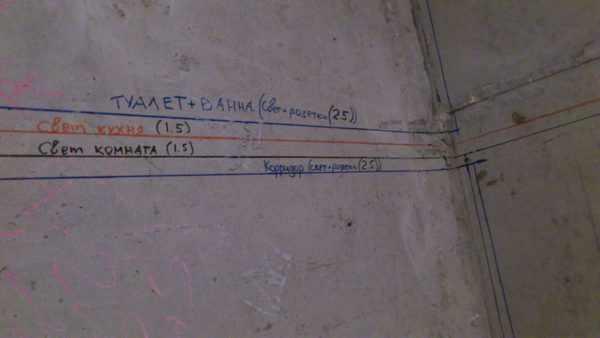 Разметка трассы электропроводки на стенах