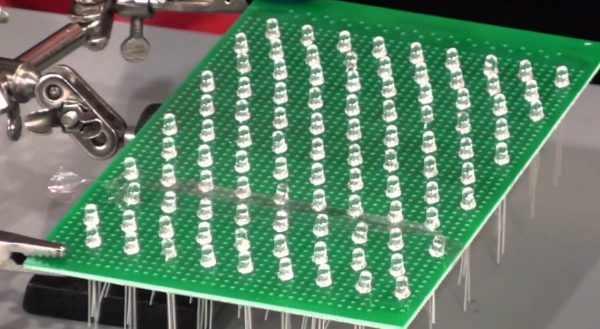 Изготовление матрицы из светодиодов штырькового типа