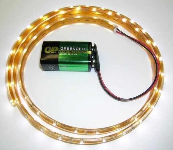 LED-ленты можно запитать от батарейки