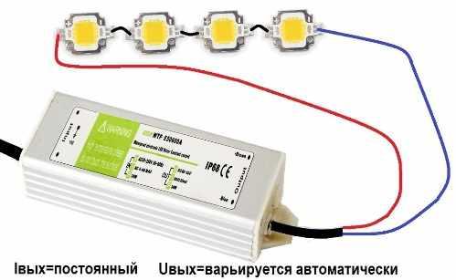 Подключение драйвера к светодиодным источникам света