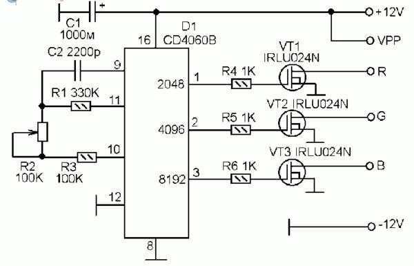 Принципиальная схема контроллера для светодиодной RGB-гирлянды